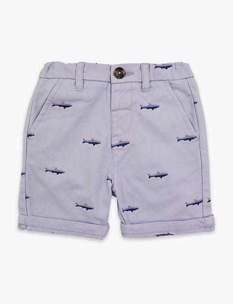 Regular Cotton Embroidered Shark Shorts (2-7 Yrs)
