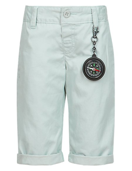 Pure Cotton Adjustable Waist Chino Shorts with Compass Keyring