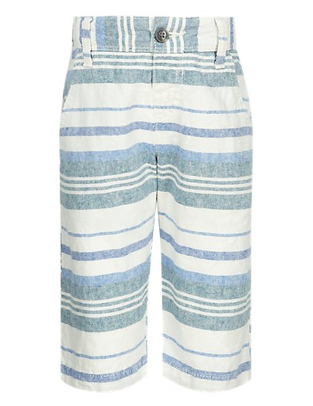 Linen Blend Adjustable Waist Striped Shorts (1-7 Years)