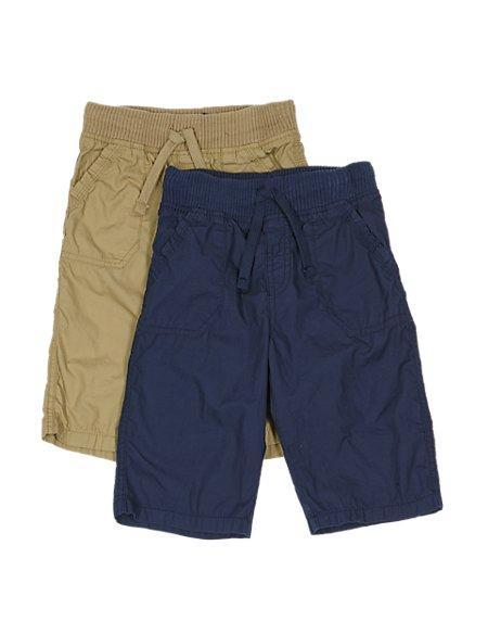 2 Pack Pure Cotton Flightcloth Shorts (1-7 Years)