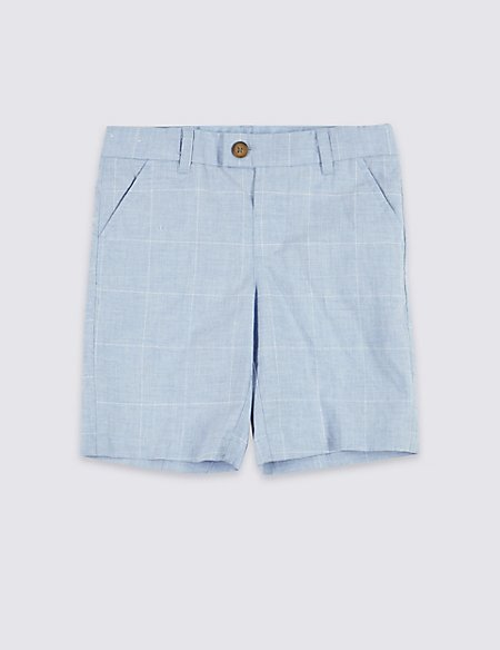 Pure Cotton Checked Shorts (3 Months - 7 Years)