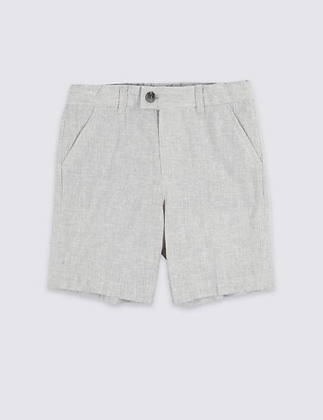 Grey Linen Blend Shorts (3 Months - 7 Years)