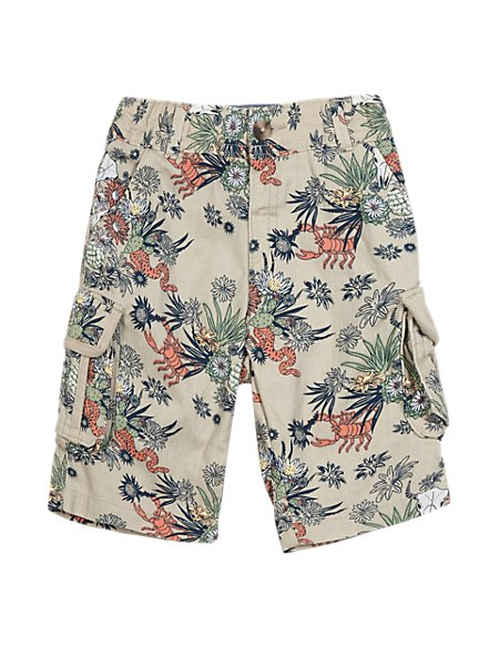 Pure Cotton Contrast Print Adjustable Waist Cargo Shorts (1-7 Years)