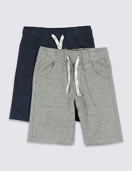 2 Pack Cotton Rich Adjustable Waist Shorts (1-7 Years)