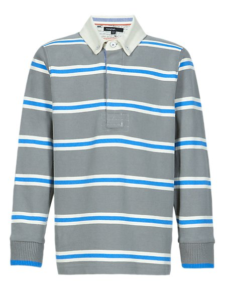 Supima® Pure Cotton Striped Boys Rugby Top