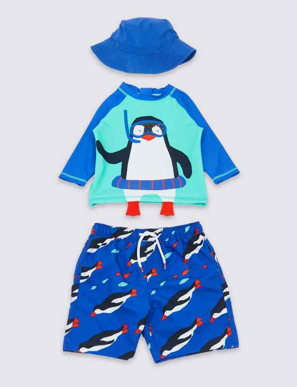 eed965683599d 3 Piece Penguin Swimsuit Set (3 Months - 7 Years)