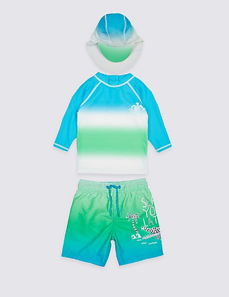 3 Piece Printed Swim Outfit (0-5 Years)