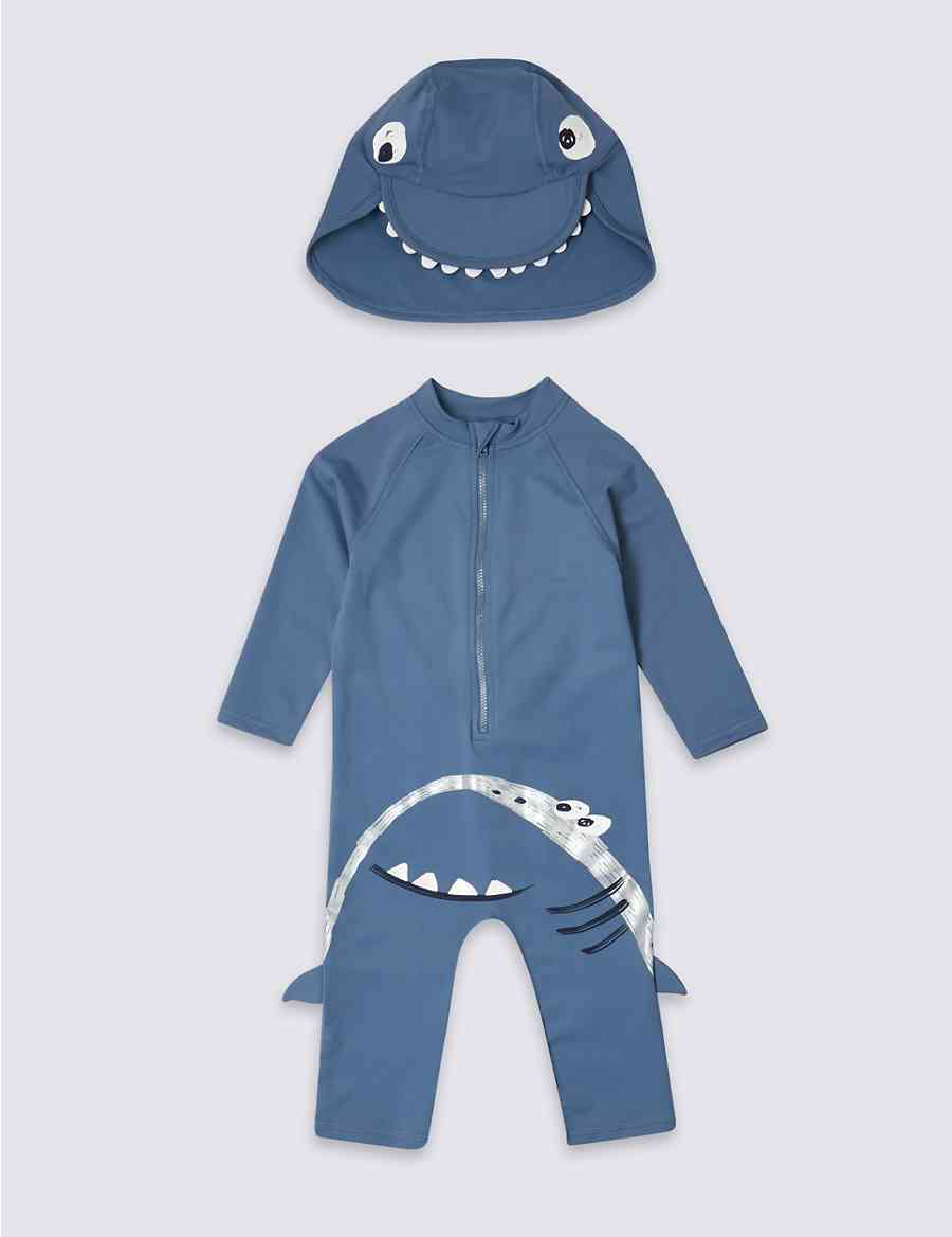 ae7a443a5e0b8 Swimsuit Set with Sun Safe UPF50+ (3 Months - 7 Years) | M&S
