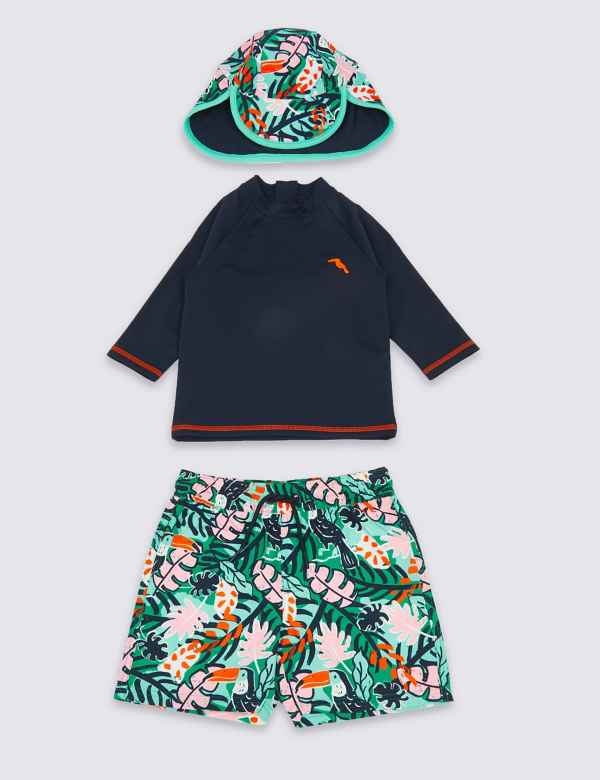 949a2469dbdcb 3 Piece Tropical Swimsuit Set (3 Months - 7 Years)