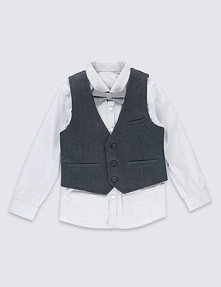 Pure Cotton 3 Piece Herringbone Waistcoat Outfit (1-7 Years)
