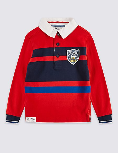 Pure Cotton Striped Rugby Top (3 Months - 5 Years)