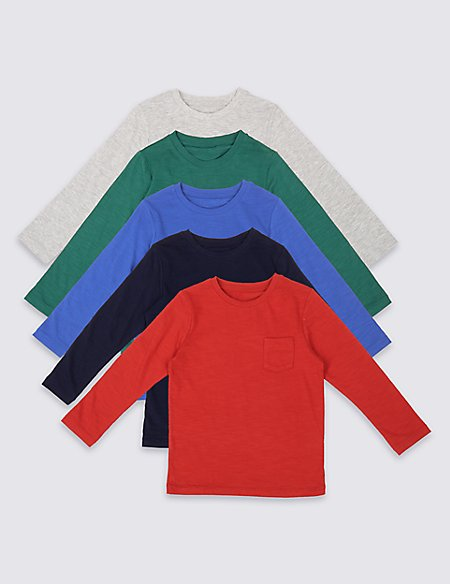 5 Pack Cotton Rich Long Sleeve Tops (3 Months - 5 Years)