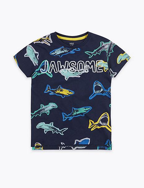 Cotton Shark Print T-Shirt (2-7 Years)