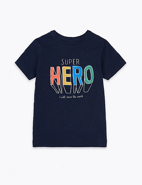 Cotton Super Hero Slogan T-Shirt (2-7 Years)