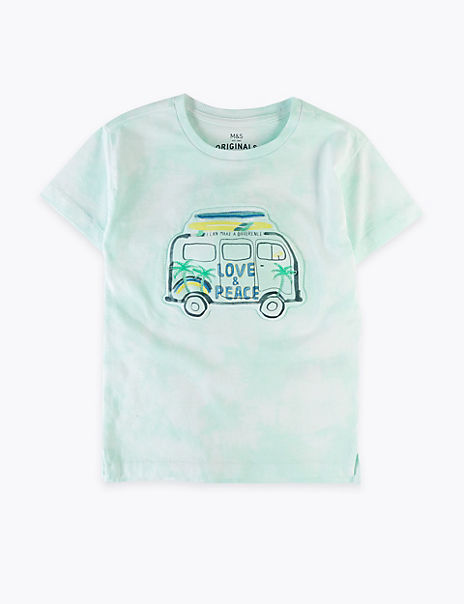 Pure Cotton Tie Dye Transport T-Shirt (2-7 Years)