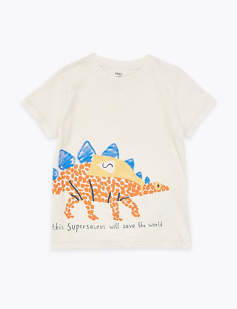 Cotton Dinosaur Print T-Shirt (2-7 years)