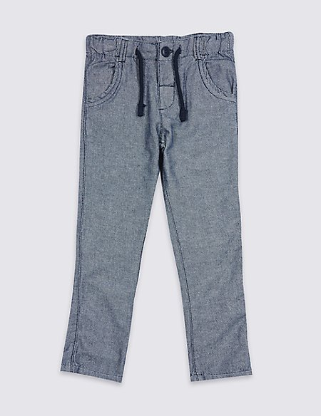 Pure Cotton Textured Trousers (3 Months - 7 Years)