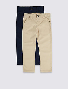 2 Pack Pure Cotton Chinos (3 Months - 7 Years)