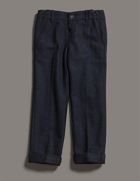 Wool Blend Herringbone Adjustable Waist Trousers (1-7 Years)
