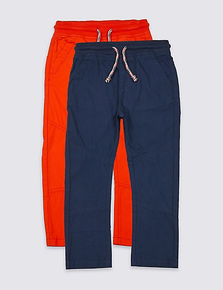2 Pack Pure Cotton Trousers (3 Months - 7 Years)