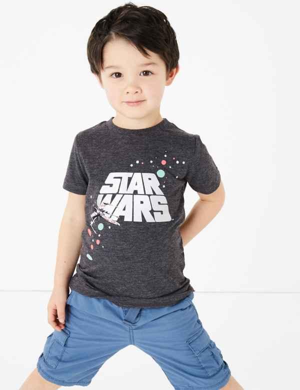 boys girls dark grey t shirt STAR WARS Red Age 2 3 4 5  NEW