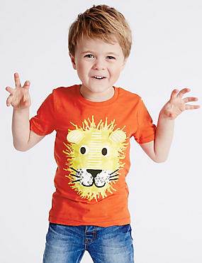 Pure Cotton Lion Print T-Shirt (3 Months - 5 Years)
