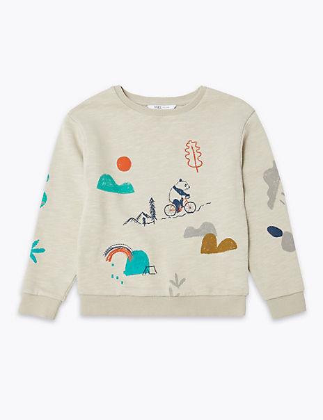 Pure Cotton Animal Print Sweatshirt (3 Months - 7 Years)