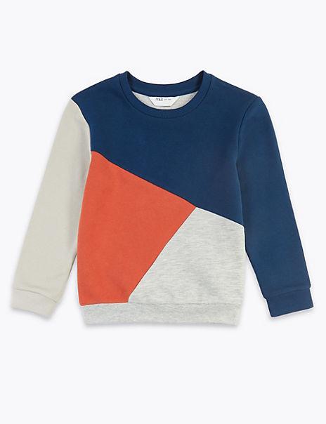 Cotton Colour Block Sweatshirt (3 Months - 7 Years)