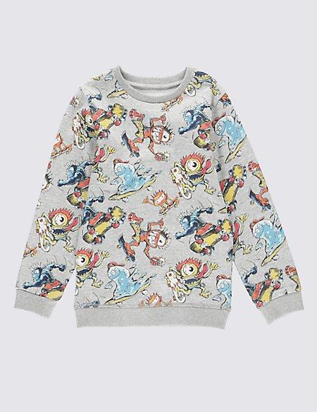 Pure Cotton Monster Print Sweatshirt (1-7 Years)