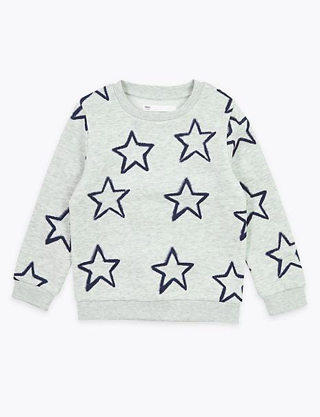 Cotton Rich Star Print Sweatshirt (2-7 Years)