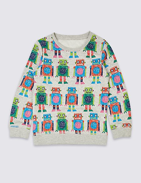 Cotton Rich Printed Sweatshirt (3 Months - 7 Years)