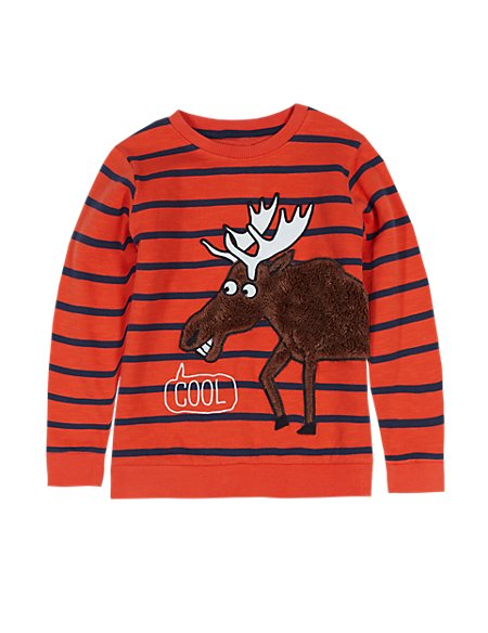 Pure Cotton Moose Appliqué Crew Neck Sweatshirt (1-7 Years)