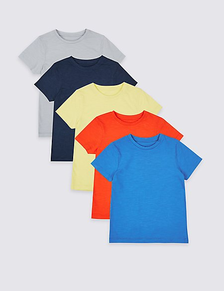 5 Pack Pure Cotton Tops (3 Months - 7 Years)