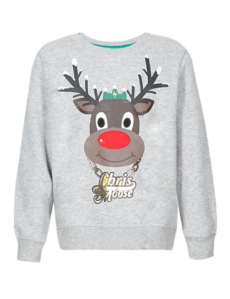 Pure Cotton Chris Moose Sweatshirt (1-7 Years)