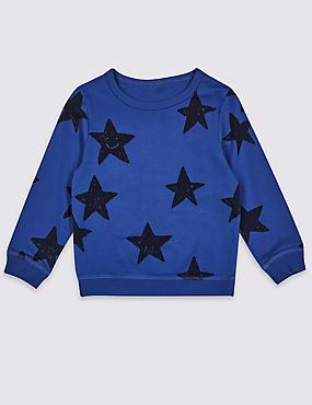 Pure Cotton Star Sweatshirt (3 Months - 7 Years)