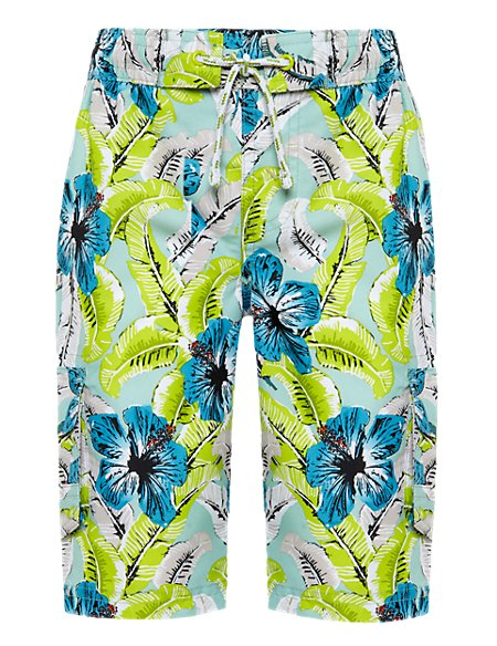 Retro Style Hibiscus Print Swim Shorts (1-7 Years)