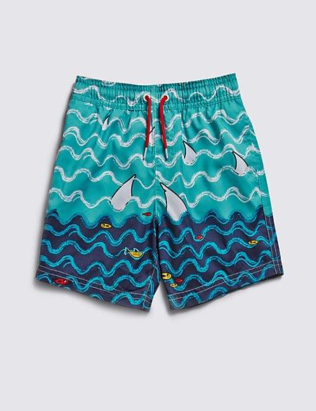 Shark Fin Print Swim Shorts (1-7 Years)