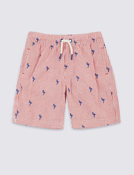 Sustainable Flamingo Seersucker Swim Shorts (3 Months - 7 Years)