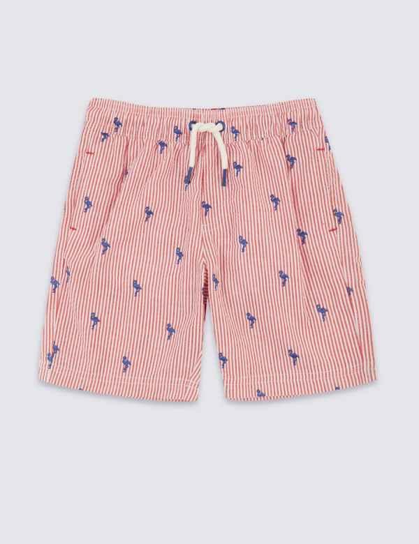 bbe10488ba Sustainable Flamingo Seersucker Swim Shorts (3 Months - 7 Years)