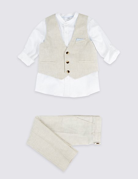 3 Piece Linen Rich Outfit (3 Months - 7 Years)