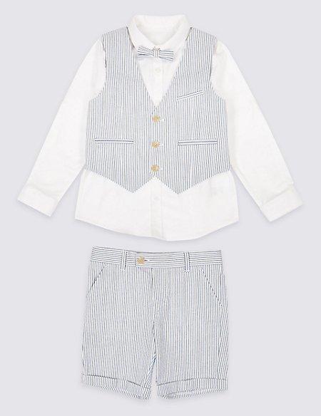 4 Piece Striped Seersucker Outfit (3 Months - 7 Years)