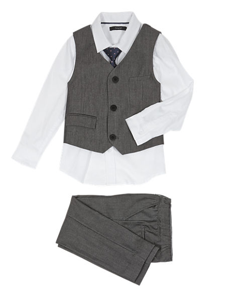 4 Piece Waistcoat, Shirt, Tie & Supercrease™ Trousers Outfit (1-10 Years)