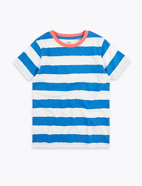 Pure Cotton Striped T-Shirt (2-7 Years)