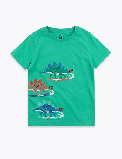 Cotton Dinosaur Print T-Shirt (2-7 Years)