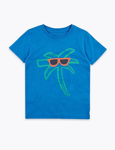 Cotton Palm Tree Print T-Shirt (2-7 Years)