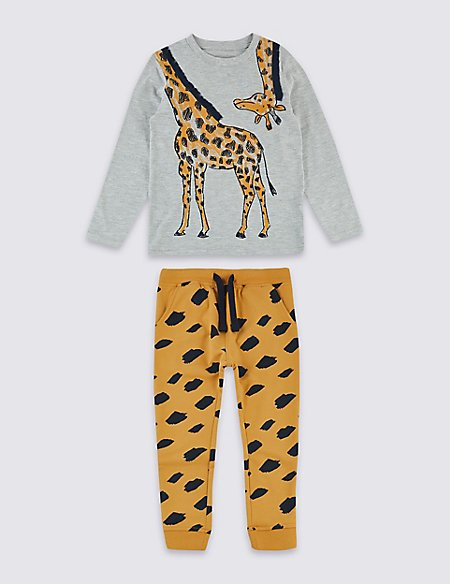 2 Piece Giraffe Top & Joggers Outfit (3 Months - 7 Years)