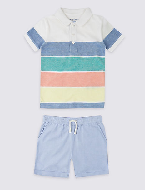 2 Piece Pure Cotton Polo Shirt with Shorts Outfit (3 Months - 7 Years)
