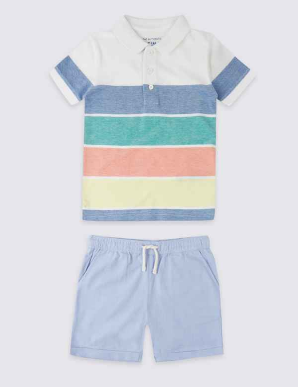 2b46dad4d8f11 2 Piece Pure Cotton Polo Shirt with Shorts Outfit (3 Months - 7 Years)