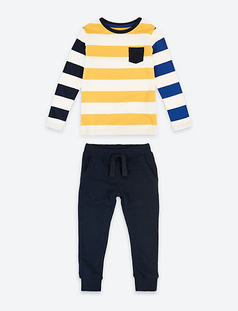 2 Pack Cotton Striped Top & Bottom Outfit (3 Months - 7 Years)