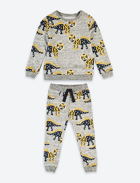 2 Piece Cotton Tiger Dinosaur Print Outfit (3 Months - 7 Years)
